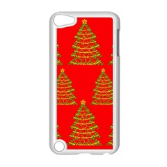 Christmas trees red pattern Apple iPod Touch 5 Case (White)