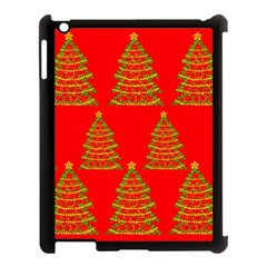 Christmas trees red pattern Apple iPad 3/4 Case (Black)
