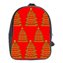 Christmas trees red pattern School Bags (XL)