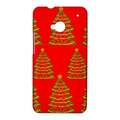 Christmas trees red pattern HTC One M7 Hardshell Case
