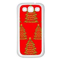 Christmas trees red pattern Samsung Galaxy S3 Back Case (White)