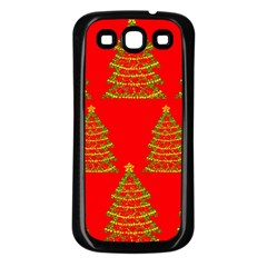 Christmas trees red pattern Samsung Galaxy S3 Back Case (Black)