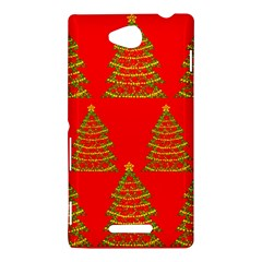 Christmas trees red pattern Sony Xperia C (S39H)