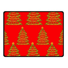 Christmas trees red pattern Double Sided Fleece Blanket (Small)