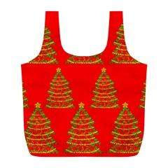 Christmas trees red pattern Full Print Recycle Bags (L)