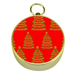 Christmas trees red pattern Gold Compasses