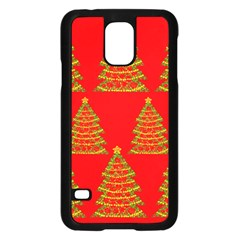 Christmas trees red pattern Samsung Galaxy S5 Case (Black)