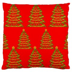 Christmas trees red pattern Large Flano Cushion Case (One Side)