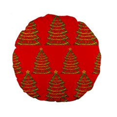 Christmas trees red pattern Standard 15  Premium Flano Round Cushions