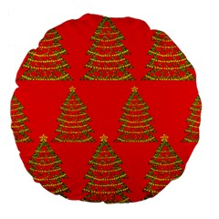 Christmas trees red pattern Large 18  Premium Flano Round Cushions