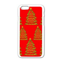 Christmas trees red pattern Apple iPhone 6/6S White Enamel Case