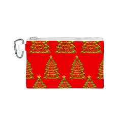 Christmas trees red pattern Canvas Cosmetic Bag (S)