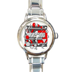 Gray and red geometrical design Round Italian Charm Watch