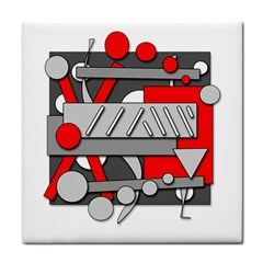 Gray and red geometrical design Tile Coasters