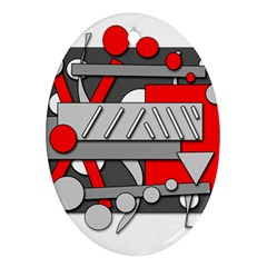 Gray and red geometrical design Ornament (Oval)