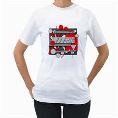 Gray and red geometrical design Women s T-Shirt (White) (Two Sided)
