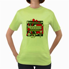 Gray and red geometrical design Women s Green T-Shirt