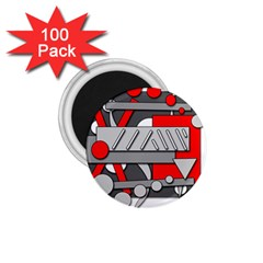 Gray and red geometrical design 1.75  Magnets (100 pack)