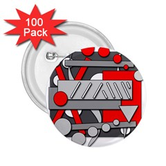 Gray and red geometrical design 2.25  Buttons (100 pack)