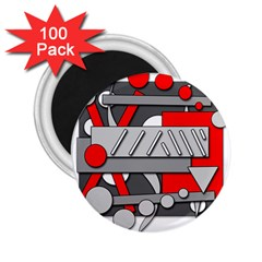 Gray and red geometrical design 2.25  Magnets (100 pack)