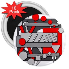 Gray and red geometrical design 3  Magnets (10 pack)