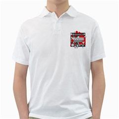 Gray and red geometrical design Golf Shirts