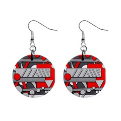 Gray and red geometrical design Mini Button Earrings