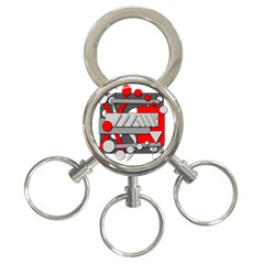 Gray and red geometrical design 3-Ring Key Chains
