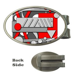 Gray And Red Geometrical Design Money Clips (oval)