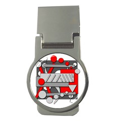 Gray and red geometrical design Money Clips (Round)