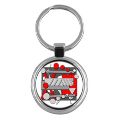 Gray and red geometrical design Key Chains (Round)