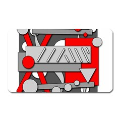 Gray and red geometrical design Magnet (Rectangular)