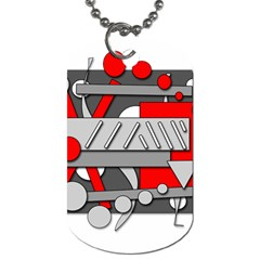 Gray and red geometrical design Dog Tag (One Side)