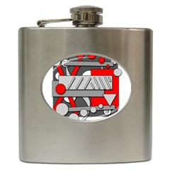 Gray and red geometrical design Hip Flask (6 oz)