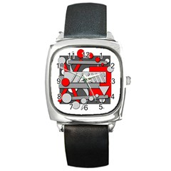 Gray and red geometrical design Square Metal Watch