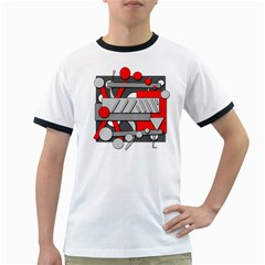 Gray and red geometrical design Ringer T-Shirts