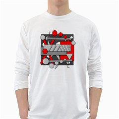 Gray and red geometrical design White Long Sleeve T-Shirts