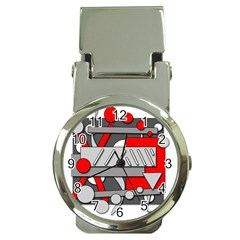 Gray And Red Geometrical Design Money Clip Watches