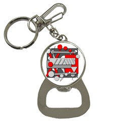 Gray and red geometrical design Bottle Opener Key Chains