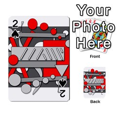 Gray and red geometrical design Playing Cards 54 Designs