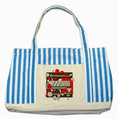 Gray and red geometrical design Striped Blue Tote Bag