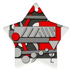 Gray and red geometrical design Star Ornament (Two Sides)
