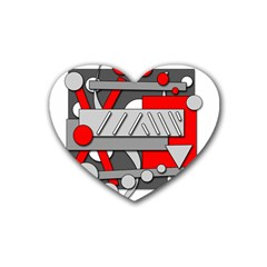 Gray and red geometrical design Rubber Coaster (Heart)
