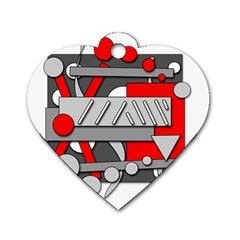 Gray and red geometrical design Dog Tag Heart (Two Sides)