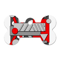 Gray and red geometrical design Dog Tag Bone (Two Sides)