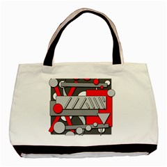 Gray and red geometrical design Basic Tote Bag (Two Sides)