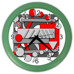 Gray and red geometrical design Color Wall Clocks