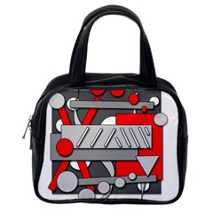 Gray and red geometrical design Classic Handbags (One Side)