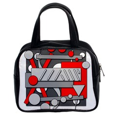 Gray and red geometrical design Classic Handbags (2 Sides)