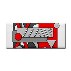 Gray And Red Geometrical Design Hand Towel